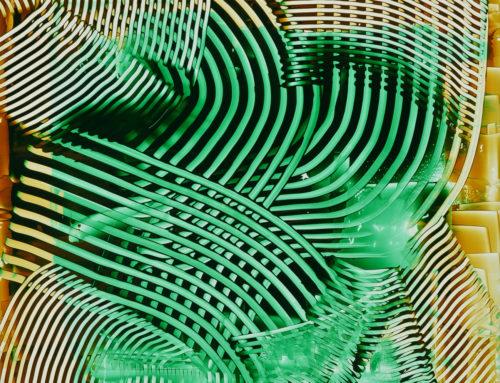 ACRILICO GRAFFIATO verde su lastra, 2016, 50×50 cm
