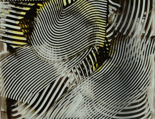 ACRILICO GRAFFIATO bianco-nero-giallo su lastra, 2016, 50×50 cm