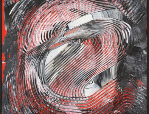 ACRILICO GRAFFIATO rosso-nero-bianco su pannello, 2016, 70×50 cm
